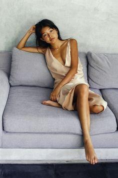 NICE MARTIN X YAN YAN CHAN. Wearing our nude slip dress. Shop online now at www.nicemartin.com @nice_martin