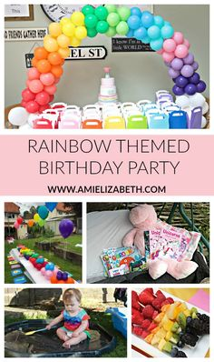 Florence's Rainbow Themed Birthday Party, Rainbow party theme, baby's birt. 2nd Birthday Party For Girl, 1st Birthday Party Games, Rainbow First Birthday, Unicorn Birthday Parties, Birthday Party Decorations, Birthday Ideas, Rainbow Party Games, Rainbow Parties, Rainbow Theme