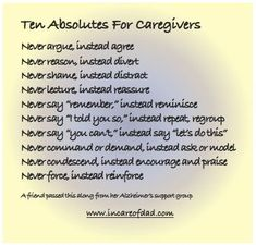 Ten Absolutes For Caregivers #caregiver #caregiving
