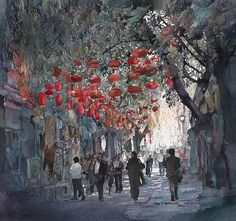 By John Salminen,  Watercolor,Title: Beijing Lanterns, Original Dimensions: 23.5 x 25