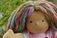 Bamboletta Cuddle Doll Katherina Sunkissed, sea blue eyes, freckles, art yarn fairy bits 6/20/14
