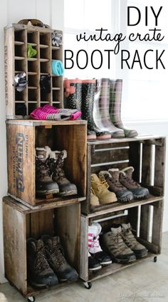 DIY vintage crate boot rack. Perfect for family shoe storage! I love the look of this and it seems pretty easy to gather most of these material.