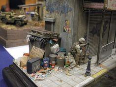 US Soldier Patrol at Iraq street 1/35 Scale Model Diorama