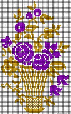 Vase flowers perler bead pattern
