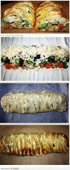 Breast with vegetables and cheese in puff pastry Breast . Kids Meals, Easy Meals, Food Tags, Cooking Recipes, Healthy Recipes, Tapas, Appetisers, Easy Chicken Recipes, How To Cook Chicken