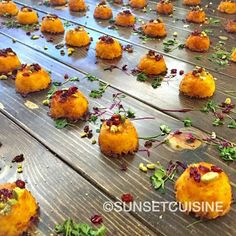 Persian #tahchin Bites (Basmati Rice tossed in Saffron Yogurt & baked until crispy on the outside and fluffy on the inside) #sunsetcuisine #catering #appetizers #persian #modern #cuisine #theartofplating #truecooks #foodporn by sunsetcuisinecatering