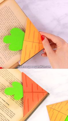 How to Make Carrot Corner Bookmark – Origami Bookmarks It's time for another corner bookmark tutorial, this time, with Easter close by, we are sharing a tutorial on how to make a carrot corner bookmark. Origami Rose, Instruções Origami, Paper Crafts Origami, Paper Crafts For Kids, Diy Arts And Crafts, Paper Crafting, Origami Heart, Kids Crafts, Diy Crafts Hacks