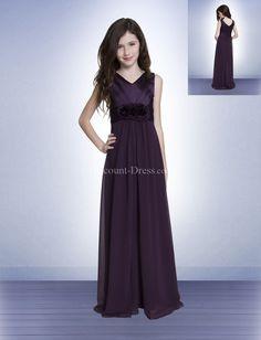 Elegant A-line Empire Chiffon V-neck Floor Length Junior Bridesmaid Dress With Flowers JBG00098 - - US$89.99