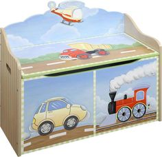 Transport themed toy box. Car, dumper truck, steam engine and helicopter at Children's Rooms