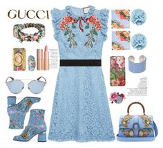 """""""floral style play"""" by licethfashion ❤ liked on Polyvore featuring Gucci, Maison Margiela, Christian Dior, Les Néréides, Belle Etoile, polyvoreeditorial and licethfashion"""