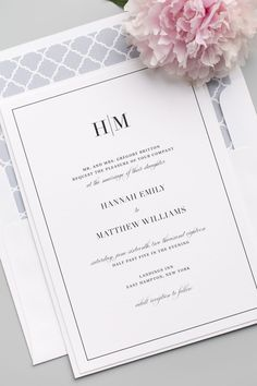 Simple and Modern Wedding Invites by Shine Wedding Invitations complete with a gray trellis envelope liner