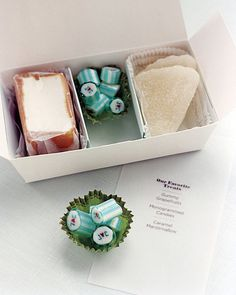 Guests were given boxes of the couple's favorite treats: caramel-coated marshmallows, gummy grapefruits, and monogrammed candies from Papabubble.