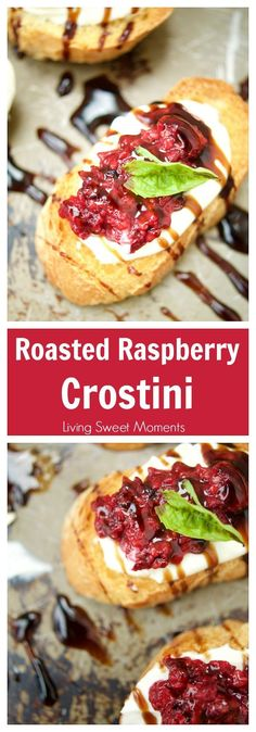 Roasted Raspberry Crostini This delicious Roasted Raspberry Crostini recipe is made with balsamic vinegar, mascarpone cheese on top of a baguette. The perfect summer appetizer. - Everything About Appetizers Quick Appetizers, Easy Appetizer Recipes, Snack Recipes, Cooking Recipes, Elegant Appetizers, Vegetarian Appetizers, Thanksgiving Appetizers, Party Appetizers, Appetizer Dips