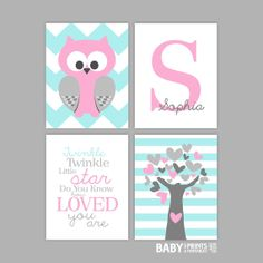 Pink and Pale Turquoise Nursery art prints, Set of 4, 11x14, Owl, Tree, Baby Name, Twinkle twinkle little star