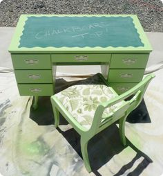 Ohmygawd. Chalkboard desk! Great idea for my little sister's birthday!
