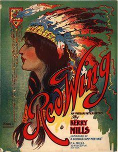 Vintage Ephemera: Sheet music cover, Red Wing - 1907