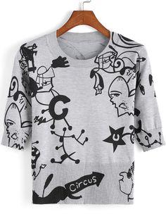 T-Shirt Rundhals mit Cartoon Druck-grau 15.47