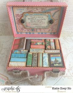 The fun creations inside Katie's beautiful Come Away with Me stacked suitcases! #graphic45