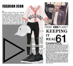 """""""Chanyeol, LMR"""" by epikhigh ❤ liked on Polyvore featuring Moschino, adidas, Ralph Lauren, women's clothing, women, female, woman, misses, juniors and kpop"""