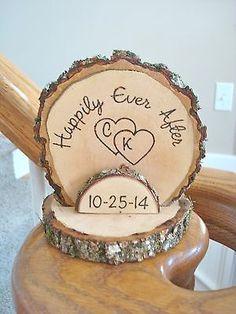 Wedding Cake Topper Rustic Wood Romantic Personalized Wood Burned