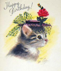 Vintage 50's Birthday Card by Rust Craft Greetings, Artist: Marjorie Cooper. So sweet.