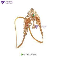 Beautiful gem-studded sparkle of diamonds centerpiece with twin peacocks arm bracelet for your big day, exquisitely handcrafted and best. Check out our traditional, artistic and antique vanki designs here. Vanki Designs Jewellery, Gold Jewellery Design, Bridal Jewellery, Real Gold Jewelry, Platinum Jewelry, Baby Jewelry, Gold Bangle Bracelet, Gold Bangles, Gold Necklace