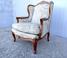 Antique 19th Century French Louis XV Style Bergere Wing Back Arm Chair Fauteuil