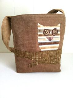Owl Bag Applique owl on tree branch striped owl by keepeweclean, $35.00 .