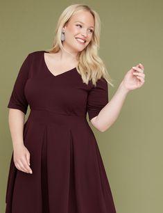 24029d6b5a6b 3 4 Sleeve Pleated Fit   Flare Dress