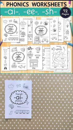 Phonics Printable Workbook, 1st Grade Worksheets for Kids, 2nd Grade, Preschool Worksheets