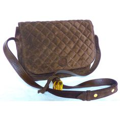 Quilted Bag, Brown Suede Leather, Crossbody Bag, Georges Rech Paris,... (1 450 ZAR) ❤ liked on Polyvore featuring bags, handbags, shoulder bags, brown handbags, brown purse, suede purse, quilted crossbody purse and brown crossbody