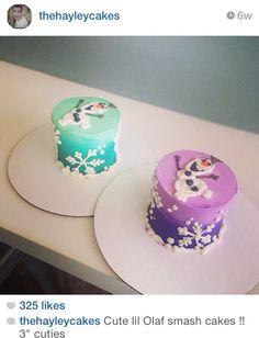 Olaf smash cakes by HayleyCakesandCookies