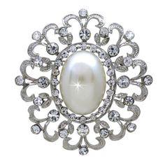 Beautiful Vintage Inspired Pearl and Crystal Rhinestone Brooch (Sparkle-1669-U)