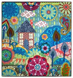 Home Sweet Home Giclee Print by Lucy Levenson Freehand Machine Embroidery, Free Motion Embroidery, Summer Quilts, Flower Quilts, Fabric Pictures, Needlecrafts, Book Quilt, A4 Size, Applique Patterns