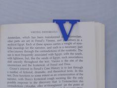 Bookmark Monogram. Initial / Letter V in Blue Strong & Flexible Polished