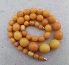 Natural Antique Baltic Vintage Amber Beads OLD Rare Ball Round Necklace 39.5 g