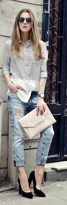 Striped Shirt Casual Streetstyle by Neon Rock