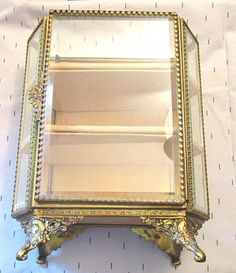 VINTAGE / ANTIQUE UPRIGHT GOLD ORMOLU METAL & BEVELED GLASS JEWELRY BOX…