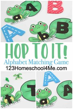 FREE Hop to It Alphabet Matching Game – this is such a fun spring or summer themed abc game for preschool, pre-k, and kindergarten age kids to practice letter matching - Kids education and learning acts Kindergarten Literacy Stations, Kindergarten Age, Preschool Centers, Preschool Curriculum, Preschool Activities, Alphabet Games For Kindergarten, Homeschooling, Free Preschool, Learning Letters