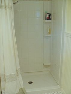 Vinegar keeps mold and mildew at bay without scrubbing.  {I use it everywhere else, but why have I never thought to try it for cleaning the shower?}