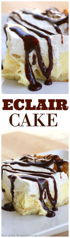 This Eclair Cake has a cream puff crust, vanilla cream cheese layer, whipped cream, and a chocolate drizzle. It's all the flavors of an eclair in cake form. the-girl-who-ate-… Just Desserts, Delicious Desserts, Yummy Treats, Sweet Treats, Yummy Food, French Desserts, Chocolate Eclair Cake, Chocolate Drizzle, Chocolate Cream