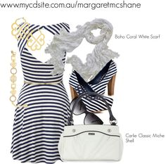 """Boho Coral White Scarf Carlie Classic Miche Shell"""" by mcshanes on Polyvore"""