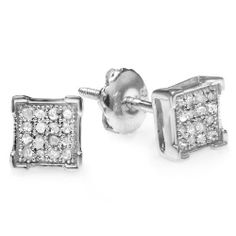 0.10 Carat (ctw) Platinum Plated Sterling Silver Diamond V Prong Square Shape Mens Hip Hop Iced Stud Earrings DazzlingRock Collection. $29.00. Weighs approximately 1.00 grams. Crafted in 925 Sterling Silver. Diamond Color / Clarity : I-J / I2-I3. Diamond Weight : 0.10 ct tw.. Gemstone : Diamond