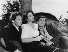 "Spencer Tracy, Hedy Lamarr and John Garfield in a publicity shot for ""Tortilla Flat"" Hollywood Music, Hollywood Glamour, Classic Hollywood, Old Hollywood, Tortilla Flats, John Garfield, Robert Young, Hedy Lamarr, Katharine Hepburn"