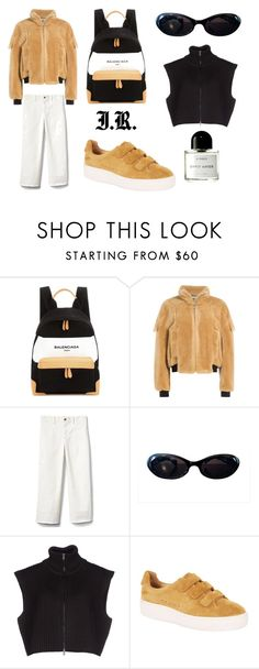 """whats black and white and beige all over?"" by iris-roijen ❤ liked on Polyvore featuring Balenciaga, J.W. Anderson, Gap, Gucci, Maison Margiela, Sandro and Byredo"