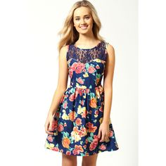 Alice Floral Lace Yoke Pearl Trim Dress ($44) found on Polyvore