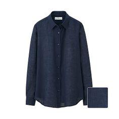 WOMEN Premium Linen Long Sleeve Shirt - Navy