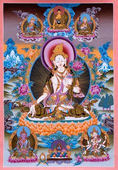 Again White Tara beautiful peace, ahhh. Gautama Buddha, Buddha Buddhism, Buddha Art, Tibetan Buddhism, Buddhism Symbols, Mahayana Buddhism, Thangka Painting, Tibetan Art, Visionary Art