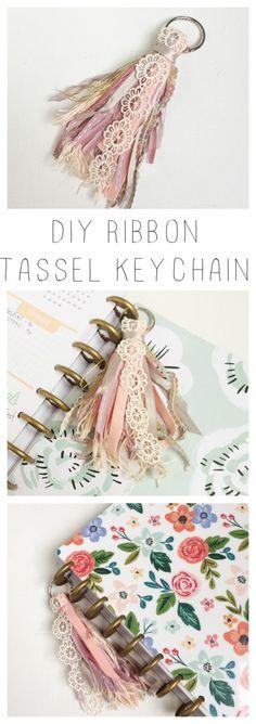 A moveable ribbon tassel keychain diy.