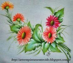 pintura em tecido flores gérberas